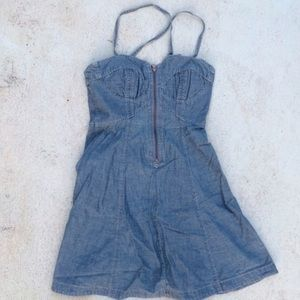 WOMENS FRENCH CONNECTION DENIM DRESS STRAPPY
